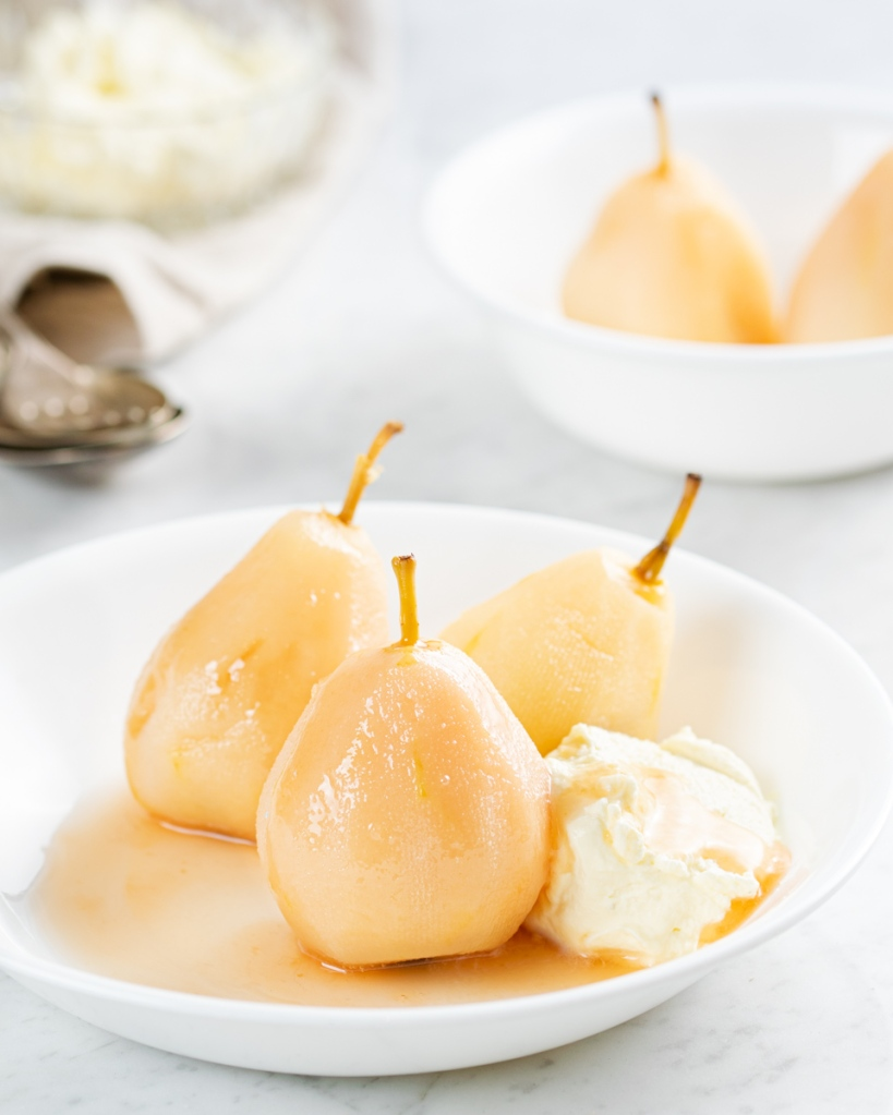 Ginger beer poached pears